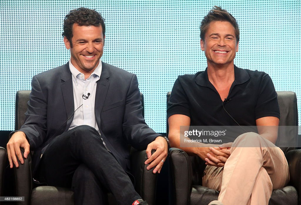 Actors Fred Savage and Rob Lowe speak onstage during 'The Grinder' panel discussion at the FOX portion of the 2015 Summer TCA Tour at The Beverly...