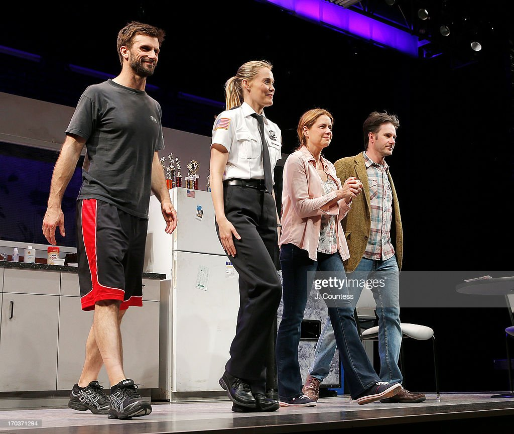 Actors Fred Weller, Leslie Bibb, Jenna Fischer and Josh Hamilton take a bow during curtain call at the 'Reasons To Be Happy' Broadway Opening Night at Lucille Lortel Theatre on June 11, 2013 in New York City.