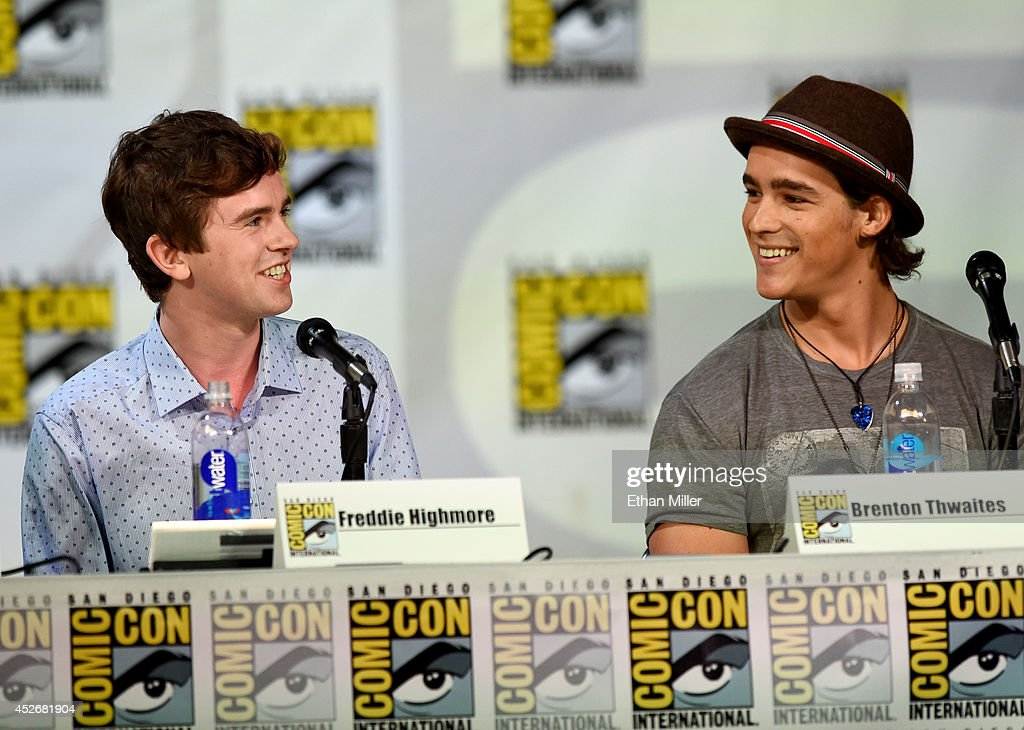 Actors Freddie Highmore (L) and Brenton Thwaites attend the Entertainment Weekly: Brave New Warriors panel during Comic-Con International 2014 at the San Diego Convention Center on July 25, 2014 in San Diego, California.