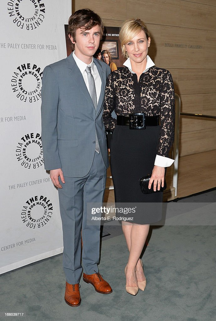 Actors Freddie Highmore and Vera Farmiga arrivie to The Paley Center for Media Presents 'Bates Motel: Reimagining A Cinema Icon' at The Paley Center for Media on May 10, 2013 in Beverly Hills, California.
