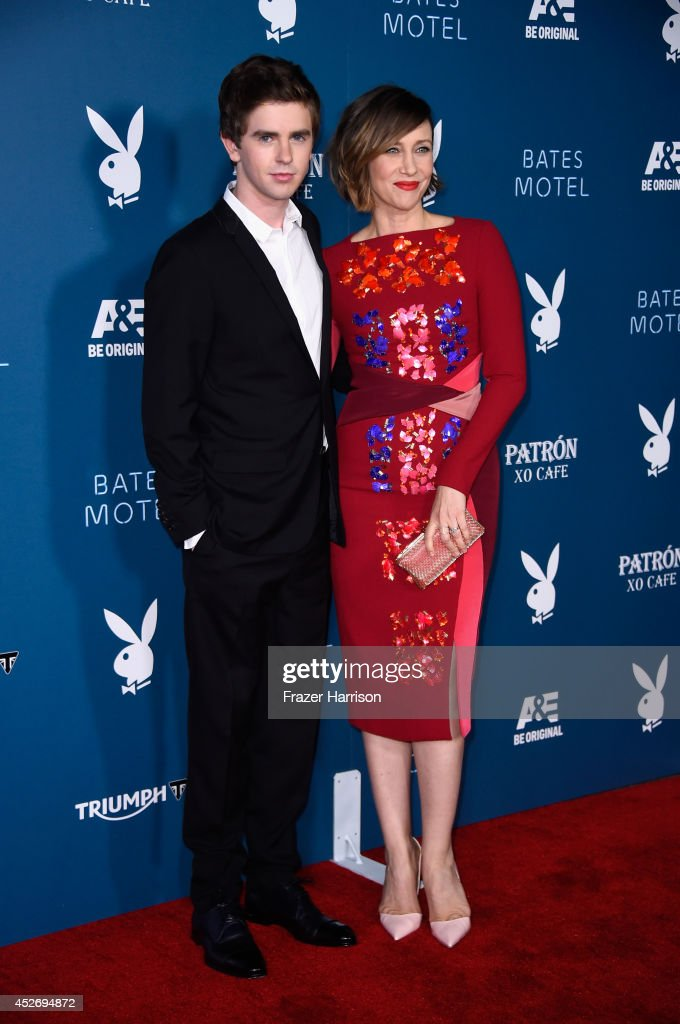 Actors Freddie Highmore and Vera Farmiga attend Playboy and AE 'Bates Motel' Event during ComicCon International 2014 on July 25 2014 in San Diego...