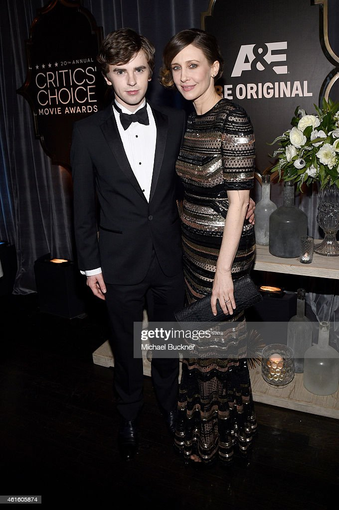 Actors Freddie Highmore and Vera Farmiga attend the after party for the 20th annual Critics' Choice Movie Awards at the Hollywood Athletic Club on...