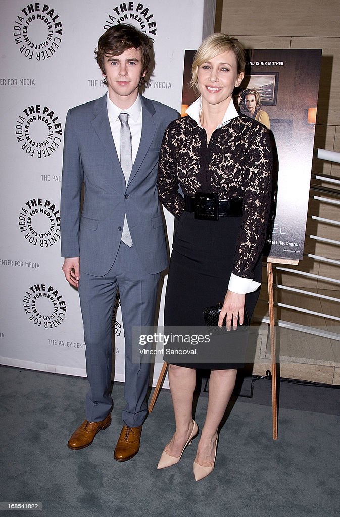 Actors <a gi-track='captionPersonalityLinkClicked' href=/galleries/search?phrase=Freddie+Highmore&family=editorial&specificpeople=210834 ng-click='$event.stopPropagation()'>Freddie Highmore</a> and <a gi-track='captionPersonalityLinkClicked' href=/galleries/search?phrase=Vera+Farmiga&family=editorial&specificpeople=227012 ng-click='$event.stopPropagation()'>Vera Farmiga</a> attend The Paley Center For Media presents 'Bates Motel: Reimagining a Cinema Icon' at The Paley Center for Media on May 10, 2013 in Beverly Hills, California.