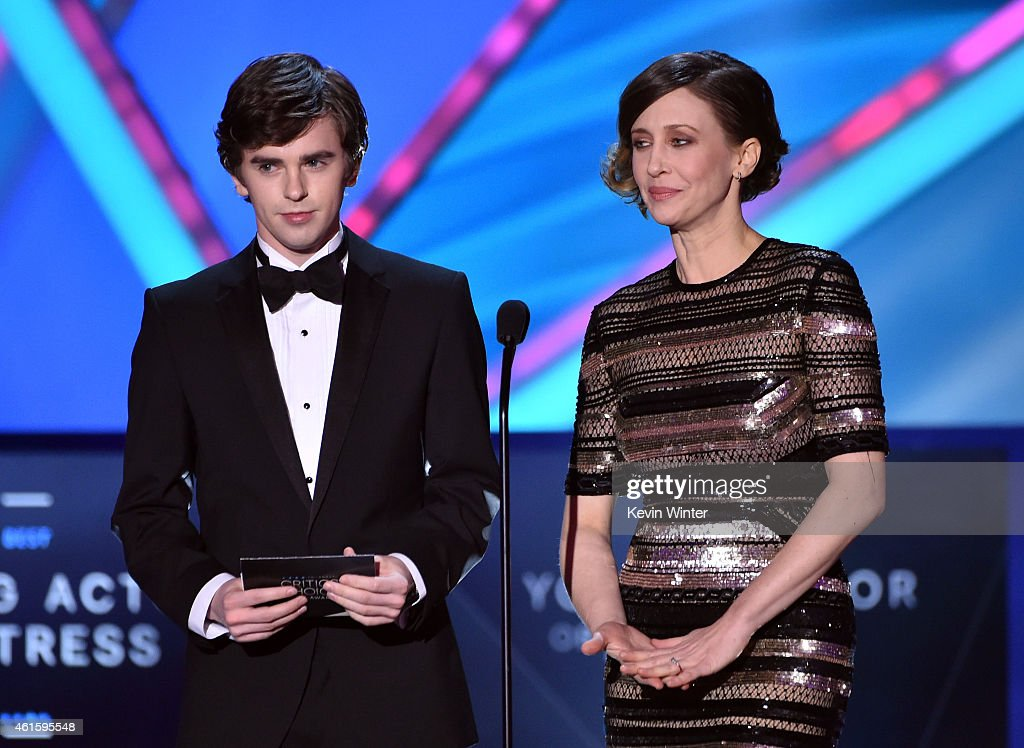 Actors Freddie Highmore and Vera Farmiga speak onstage during the 20th annual Critics' Choice Movie Awards at the Hollywood Palladium on January 15...