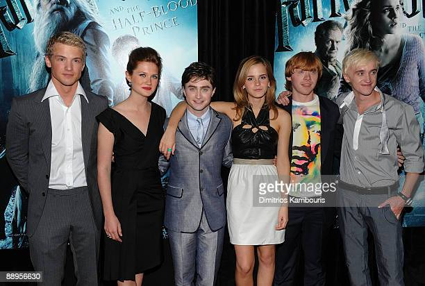 Actors Freddie Stroma Bonnie Wright Daniel Radcliffe Emma Watson Rupert Grint and Tom Felton attend the 'Harry Potter and the HalfBlood Prince'...