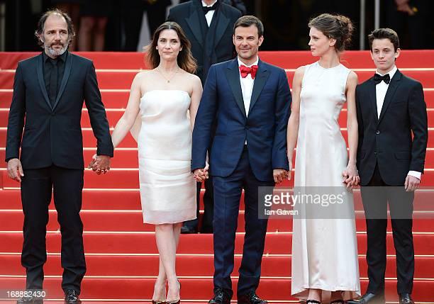 Actors Frederic Pierrot Geraldine Pailhas director Francois Ozon Marine Vacth and Fantin Ravat attend the 'Jeune Jolie' premiere during The 66th...