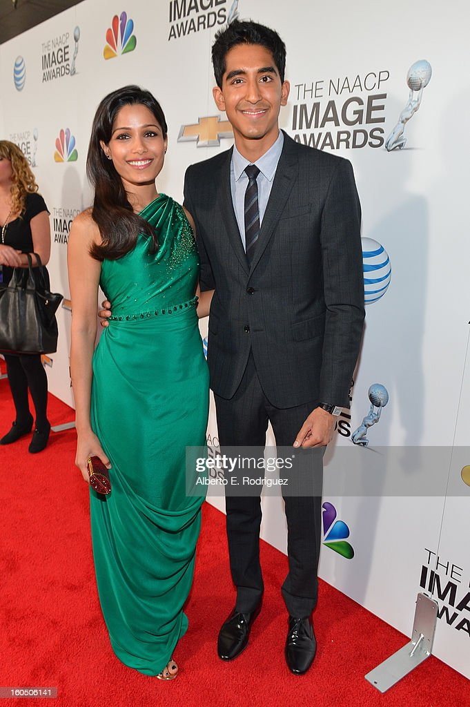 Actors Freida Pinto and Dev Patel attend the 44th NAACP Image Awards at The Shrine Auditorium on February 1, 2013 in Los Angeles, California.