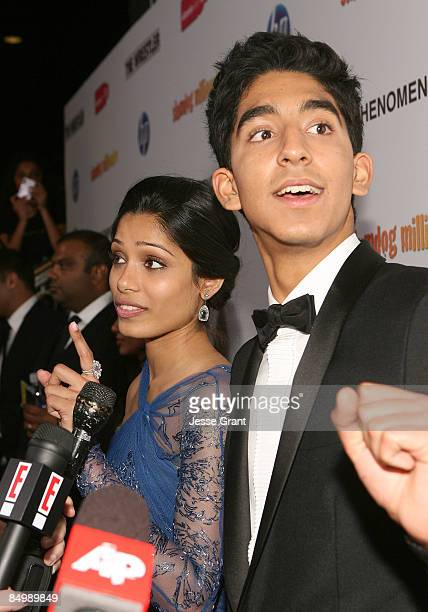 Actors Freida Pinto and Dev Patel attend the Official 'Slumdog Millionaire' and 'The Wrestler' Post Oscar Party at ONE Sunset on February 22 2009 in...