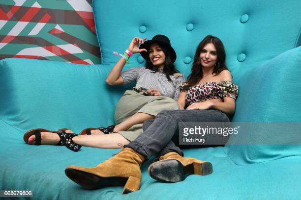 Actors Freida Pinto and Emily Ratajkowski attend HM Loves Coachella Tent during day 1 of the Coachella Valley Music Arts Festival at the Empire Polo...