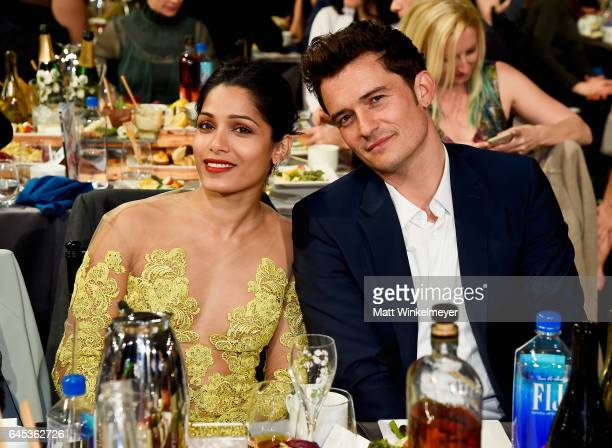 Actors Freida Pinto and Orlando Bloom attend the 2017 Film Independent Spirit Awards at the Santa Monica Pier on February 25 2017 in Santa Monica...