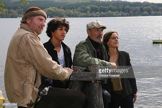Actors Friedrich von Thun Emilio Sakraya Moutaoukkil Heiner Lauterbach and Annika Kuhl pose during a photocall on set for the film 'Forever...
