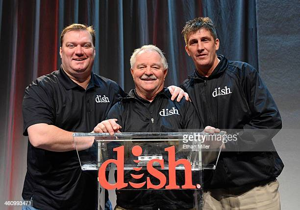Actors from DISH's Hopper television commercials Patrick Flaherty Neal Odams and Sean Malone pose after a DISH press event at the Mandalay Bay...