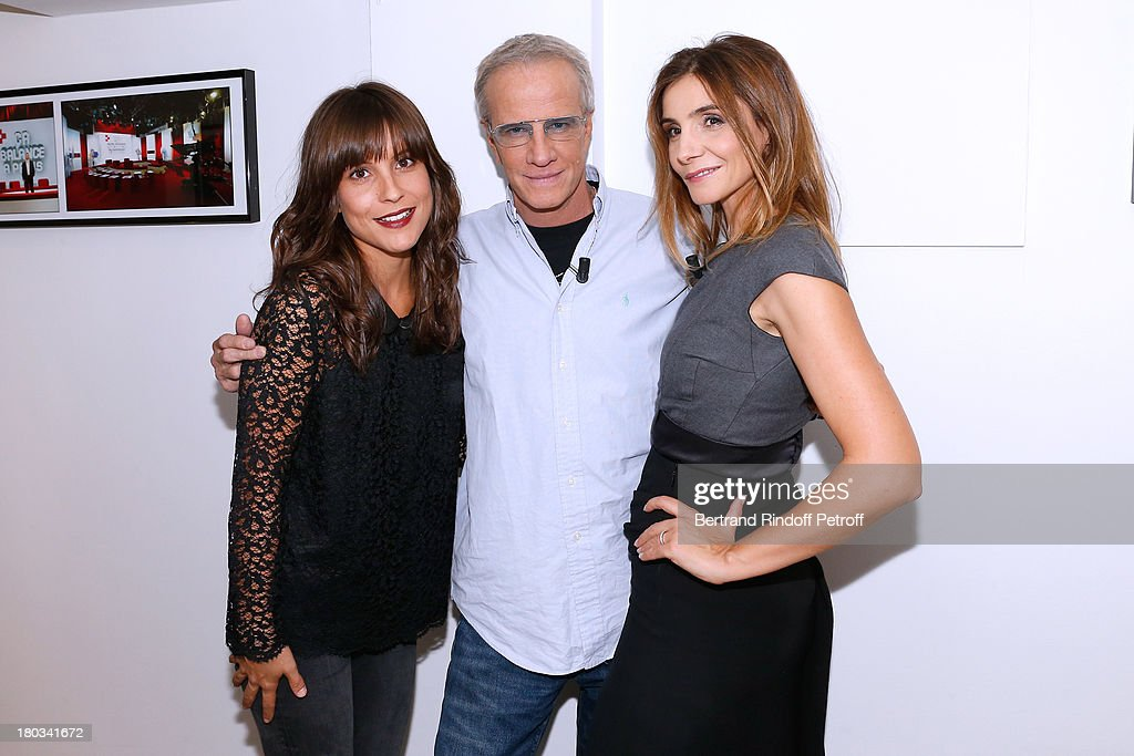 Actors from France 2 TV series 'La Source' Flore Bonaventura, Christophe Lambert and Princess of Savoy <a gi-track='captionPersonalityLinkClicked' href=/galleries/search?phrase=Clotilde+Courau&family=editorial&specificpeople=171279 ng-click='$event.stopPropagation()'>Clotilde Courau</a> attends 'Vivement Dimanche' French TV Show at Pavillon Gabriel on September 11, 2013 in Paris, France.