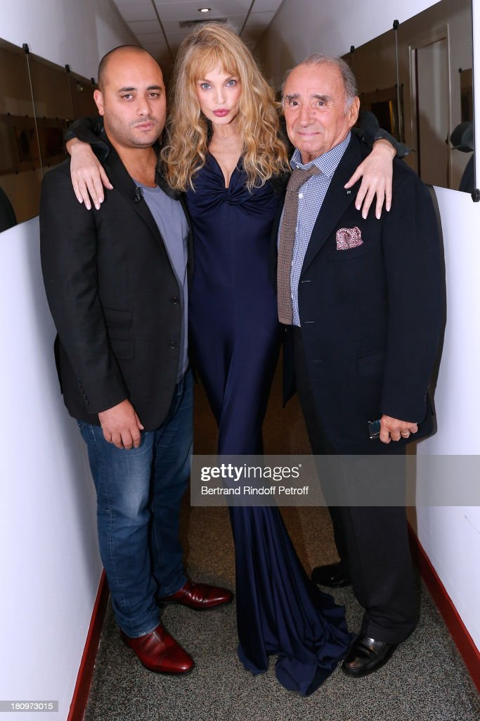 Actors from short program 'Y'a pas d'age', produced by Dany Boon, on France 2 TV chanel Jerome Commandeur, Arielle Dombasle and Claude Brasseur attend 'Vivement Dimanche' French TV Show at Pavillon Gabriel on September 18, 2013 in Paris, France.