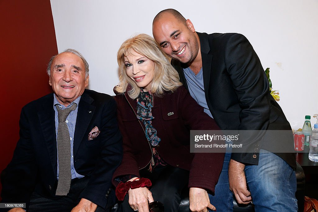 Actors from short program 'Y'a pas d'age', produced by Dany Boon, on France 2 TV chanel, Claude Brasseur, Arielle Dombasle and Jerome Commandeur attend 'Vivement Dimanche' French TV Show at Pavillon Gabriel on September 18, 2013 in Paris, France.