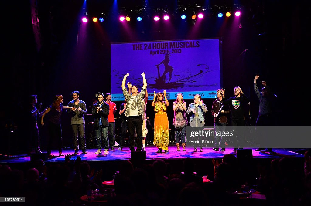Actors from the 24 Hour Musicals 2013 take a bow at the final curtain call at the Gramercy Theatre on April 29, 2013 in New York City.