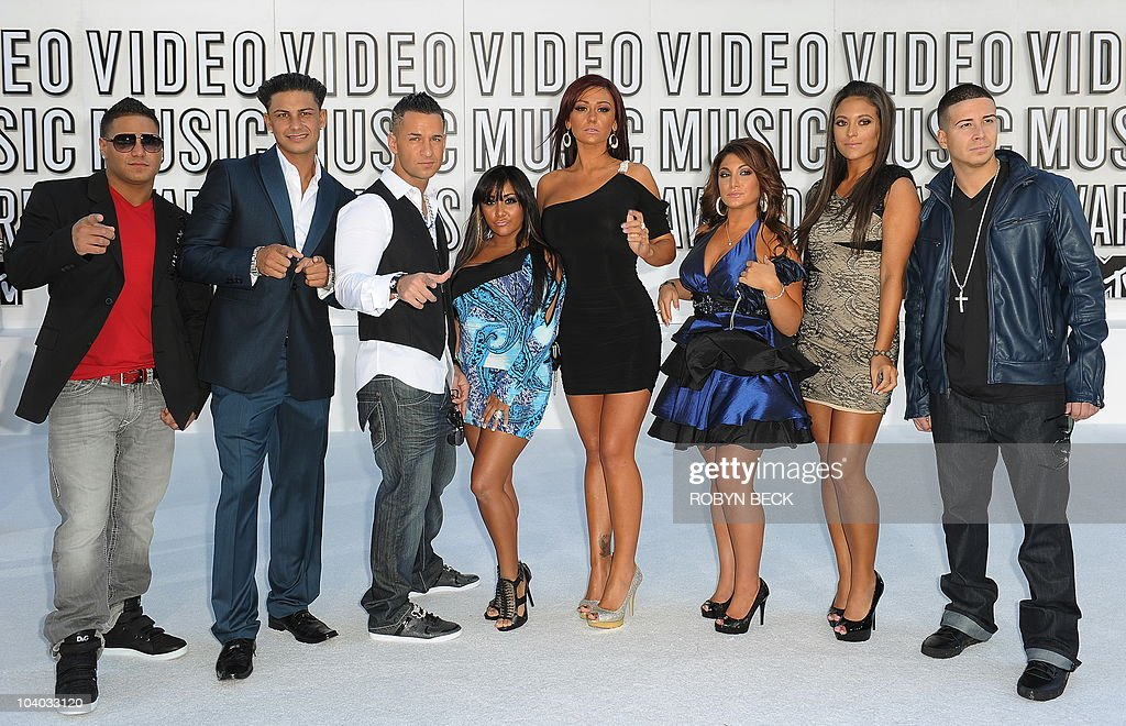Actors from the TV show 'Jersey Shore' arrive on the red carpet for the 2010 MTV Video Music Awards at the Nokia Theater in Los Angeles on Sepetember...