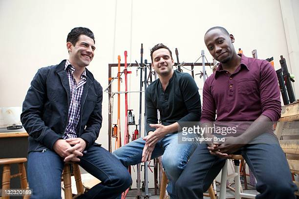 Actors from the TV show 'New Girl' Max Greenfield Lamorne Morris Jake Johnson for Los Angeles Times on October 24 2011 in Los Angeles California...