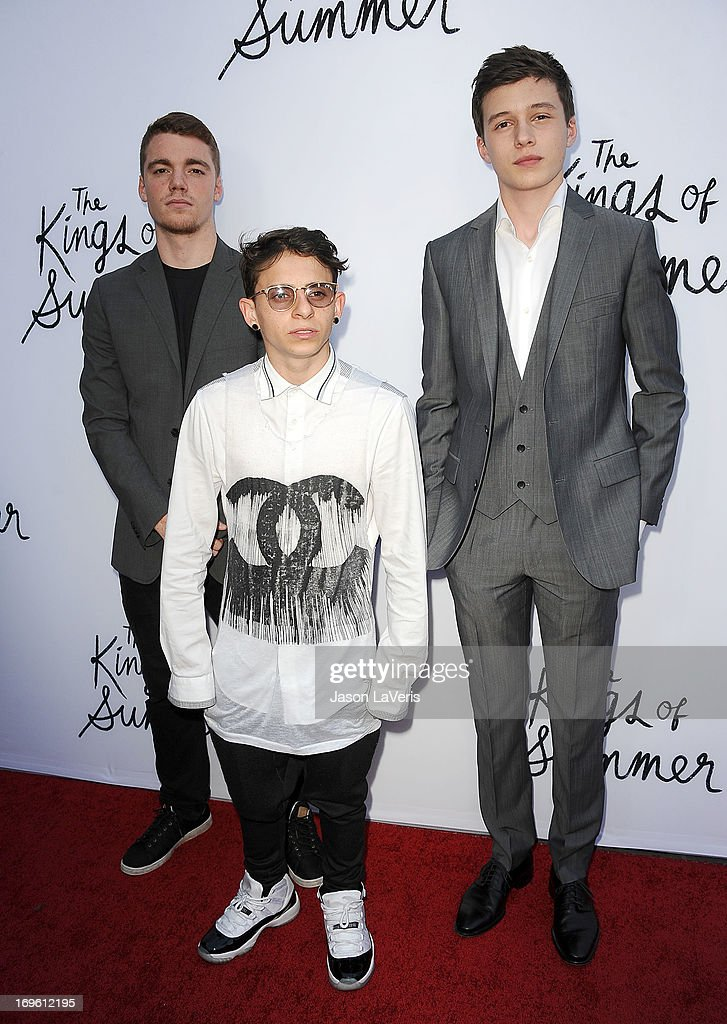 Actors Gabriel Basso, <a gi-track='captionPersonalityLinkClicked' href=/galleries/search?phrase=Moises+Arias&family=editorial&specificpeople=584006 ng-click='$event.stopPropagation()'>Moises Arias</a> and Nick Robinson attend the premiere of 'The Kings Of Summer' at ArcLight Cinemas on May 28, 2013 in Hollywood, California.