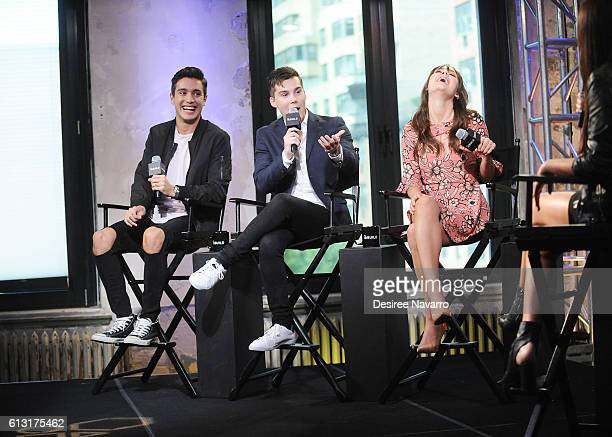 Actors Gabriel Conte Jeremy Shada and Arden Rose attend The Build Series to discuss 'Mr Student Body President' at AOL HQ on October 7 2016 in New...