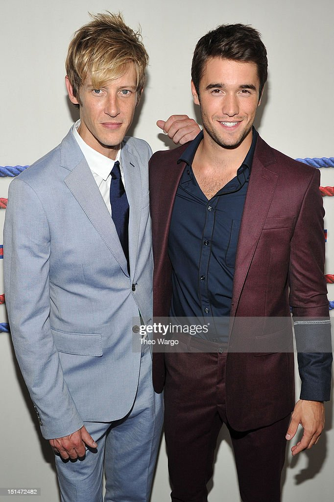 Actors <a gi-track='captionPersonalityLinkClicked' href=/galleries/search?phrase=Gabriel+Mann&family=editorial&specificpeople=228956 ng-click='$event.stopPropagation()'>Gabriel Mann</a> (L) and <a gi-track='captionPersonalityLinkClicked' href=/galleries/search?phrase=Joshua+Bowman+-+Actor&family=editorial&specificpeople=7721637 ng-click='$event.stopPropagation()'>Joshua Bowman</a> pose backstage at the Tommy Hilfiger Men's Spring 2013 fashion show during Mercedes-Benz Fashion Week at Maritime Hotel on September 7, 2012 in New York City.