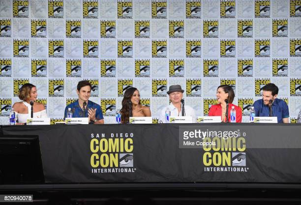 Actors Gabrielle Anwar Andrew J West Dania Ramirez Robert Carlyle Lana Parrilla and Colin O'Donoghue attend ABC's 'Once Upon A Time' panel during...