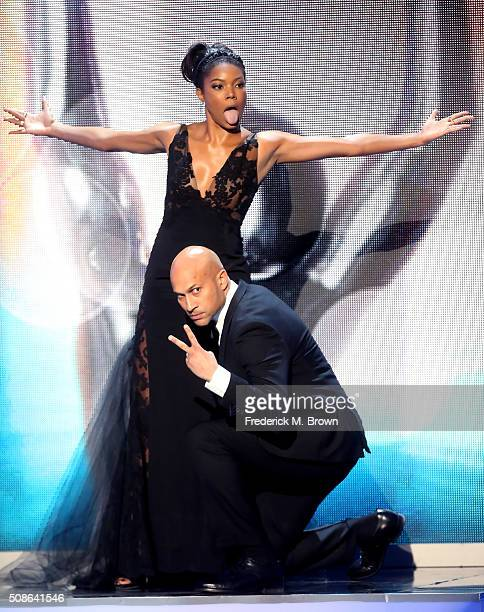 Actors Gabrielle Union and KeeganMichael Key pose onstage during the 47th NAACP Image Awards presented by TV One at Pasadena Civic Auditorium on...