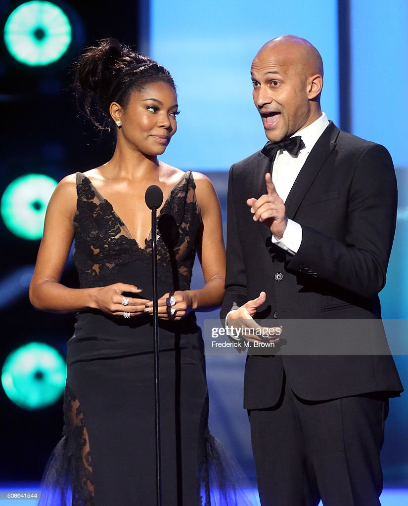 Actors <a gi-track='captionPersonalityLinkClicked' href=/galleries/search?phrase=Gabrielle+Union&family=editorial&specificpeople=202066 ng-click='$event.stopPropagation()'>Gabrielle Union</a> (L) and <a gi-track='captionPersonalityLinkClicked' href=/galleries/search?phrase=Keegan-Michael+Key&family=editorial&specificpeople=630311 ng-click='$event.stopPropagation()'>Keegan-Michael Key</a> speak onstage during the 47th NAACP Image Awards presented by TV One at Pasadena Civic Auditorium on February 5, 2016 in Pasadena, California.