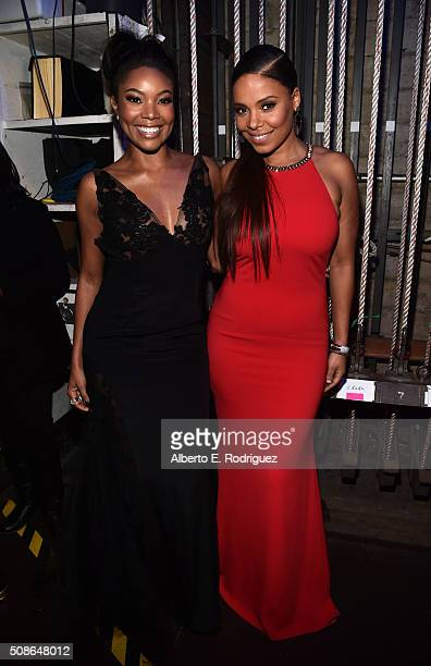 Actors Gabrielle Union and Sanaa Lathan attend the 47th NAACP Image Awards presented by TV One at Pasadena Civic Auditorium on February 5 2016 in...