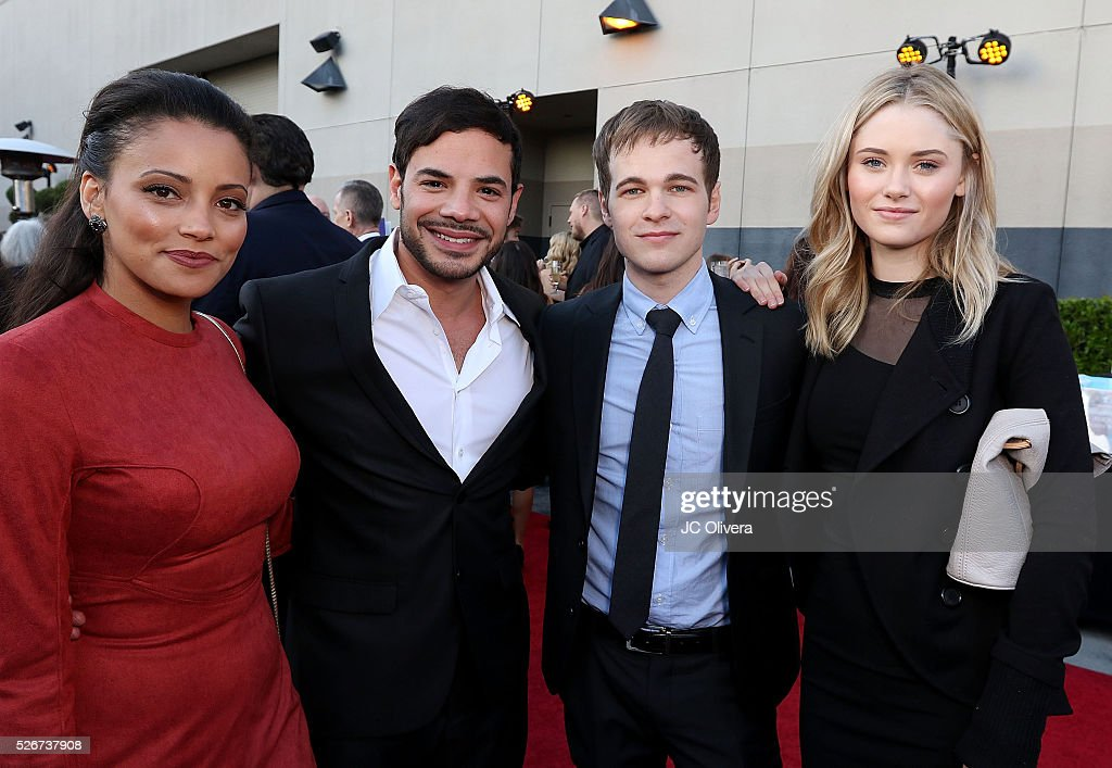 Actors Gabrielle Walsh, Rene Rosado, Graham Patrick Martin and Virginia Gardner attend Covenant House Of California's Annual Fundraising Gala, A Night Honoring Our Stars at The Globe Theatre at Universal Studios on April 30, 2016 in Universal City, California.