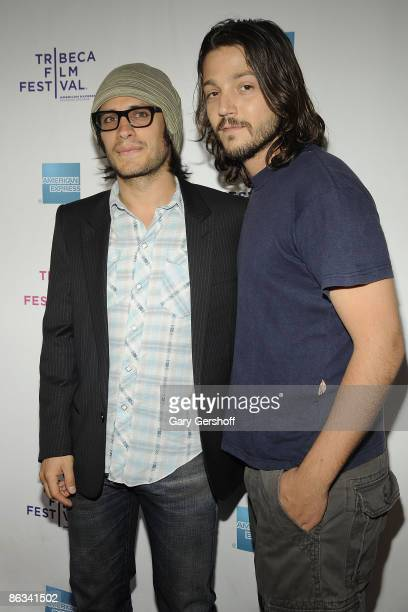 Actors Gael Garcia and Diego Luna attend the 8th Annual Tribeca Film Festival ''Rudo y Cursi'' premiere at AMC Village 7 on April 26 2009 in New York...