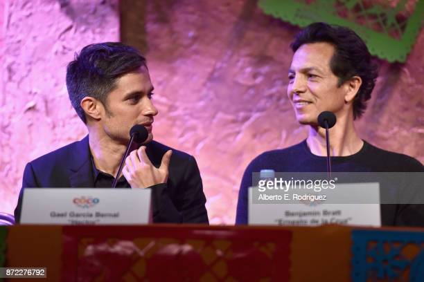 Actors Gael Garcia Bernal and Benjamin Bratt at the Global Press Conference for DisneyPixar's 'Coco' at The Beverly Hilton Hotel on November 9 2017...