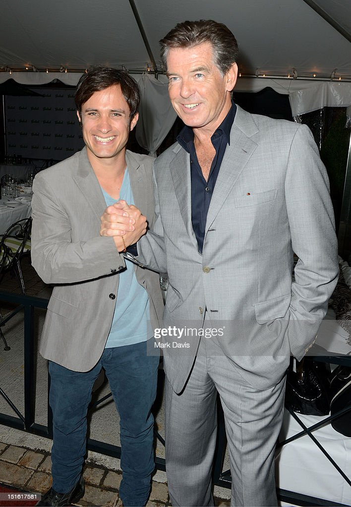 Actors <a gi-track='captionPersonalityLinkClicked' href=/galleries/search?phrase=Gael+Garcia+Bernal&family=editorial&specificpeople=202025 ng-click='$event.stopPropagation()'>Gael Garcia Bernal</a> and <a gi-track='captionPersonalityLinkClicked' href=/galleries/search?phrase=Pierce+Brosnan&family=editorial&specificpeople=194774 ng-click='$event.stopPropagation()'>Pierce Brosnan</a> attend the Sony Pictures cocktail hour during the 2012 Toronto International Film Festival at the Creme Brasserie on September 8, 2012 in Toronto, Canada.