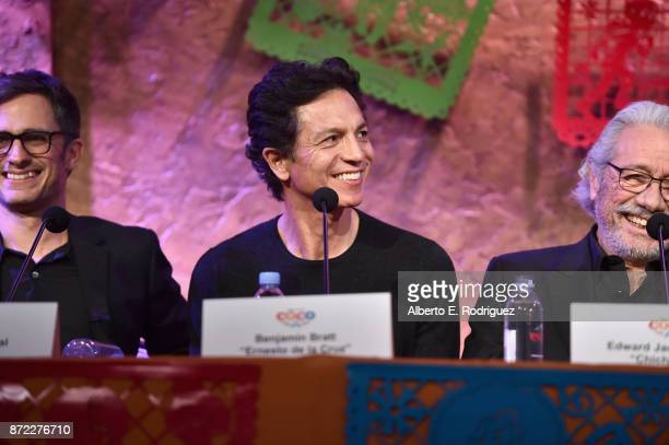 Actors Gael Garcia Bernal Benjamin Bratt and Edward James Olmos at the Global Press Conference for DisneyPixar's 'Coco' at The Beverly Hilton Hotel...