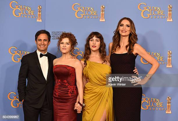 Actors Gael Garcia Bernal Bernadette Peters Lola Kirke and Saffron Burrows winners of Best Series Musical or Comedy for 'Mozart in the Jungle' pose...