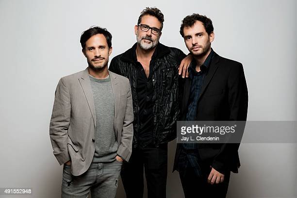 Actors Gael Garcia Bernal Jonas Cuaron and Jeffrey Dean Morgan from the film 'Desierto' are photographed for Los Angeles Times on September 25 2015...