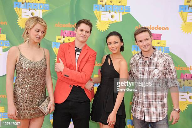 Actors Gage Golightly Matt Shively Malese Jow and Nicholas Purcell arrive at Nickelodeon's 24th Annual Kids' Choice Awards at Galen Center on April 2...