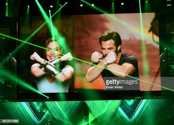 Actors Gal Gadot and Chris Pine speak via satellite at Nickelodeon's 2017 Kids' Choice Awards at USC Galen Center on March 11 2017 in Los Angeles...