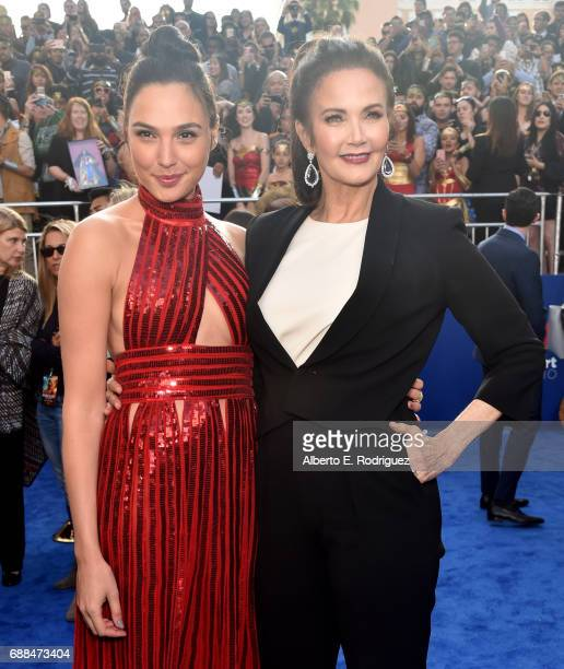Actors Gal Gadot and Lynda Carter attend the premiere of Warner Bros Pictures' 'Wonder Woman' at the Pantages Theatre on May 25 2017 in Hollywood...