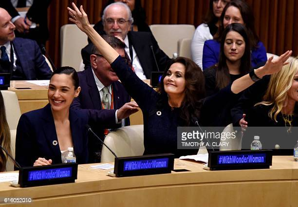 TOPSHOT Actors Gal Gadot and Lynda Carter cheer as the UN names the comic character Wonder Woman its Honorary Ambassador for the Empowerment of Women...