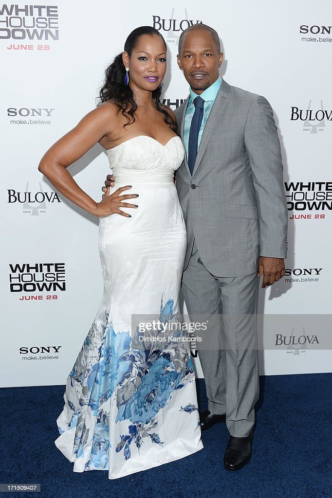 Actors Garcelle Beauvais and Jamie Foxx attend the 'White House Down' New York premiere at Ziegfeld Theater on June 25, 2013 in New York City.
