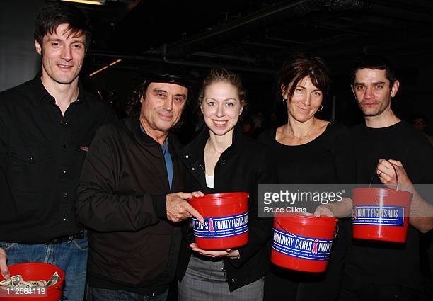 Actors Gareth Saxe Ian McShane Eve Best and James Frain pose with guest Chelsea Clinton at 'The Homecoming' on Broadway's Broadway Cares/Equity...