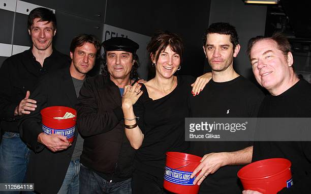 Actors Gareth Saxe Raul Esparza Ian McShane Eve Best James Frain and Michael McKean pose at 'The Homecoming' on Broadway's Broadway Cares/Equity...