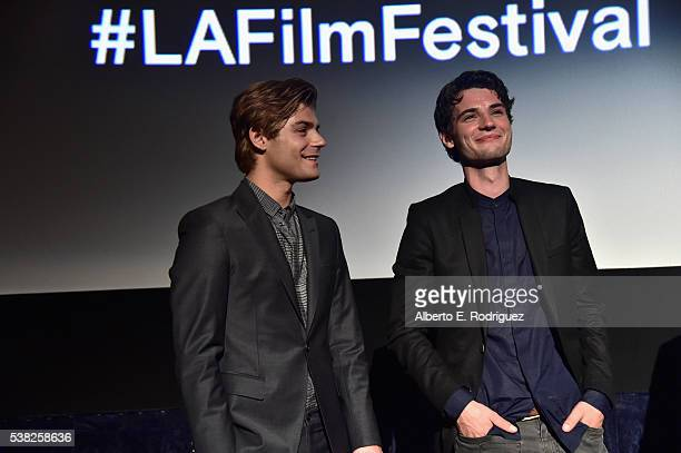 Actors Garrett Clayton and Jack Brett Anderson attend the premieres of 'Don't Hang Up' and SBF 'Night Stalker' during the 2016 Los Angeles Film...