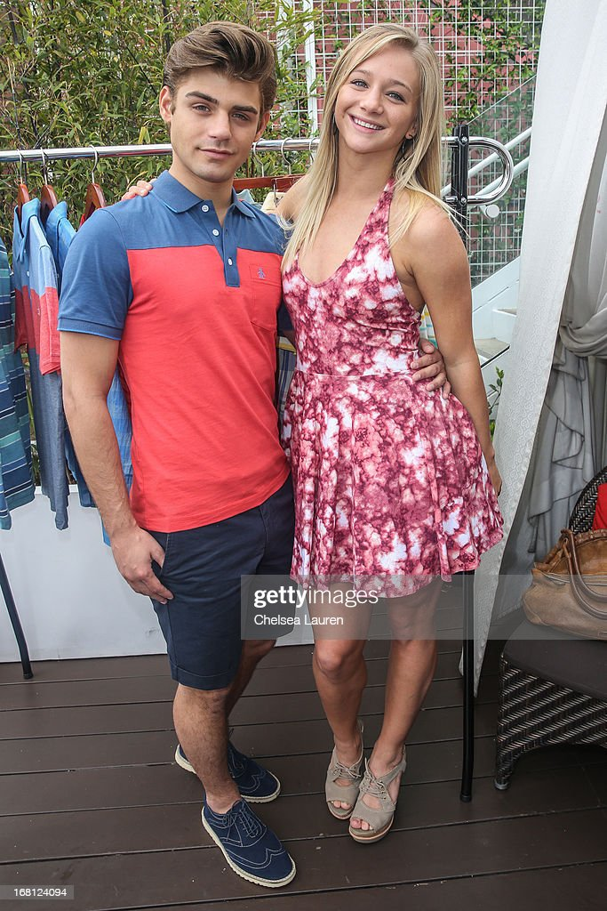 Actors Garrett Clayton (L) and Mollee Gray attend the Original Penguin summer collection launch event at Drai's Hollywood on May 5, 2013 in Hollywood, California.
