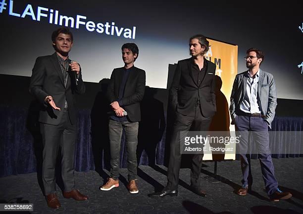 Actors Garrett Clayton Jack Brett Anderson dirctor Alexis Wajsbrot and director Damien Mace attend the premieres of 'Don't Hang Up' and SBF 'Night...