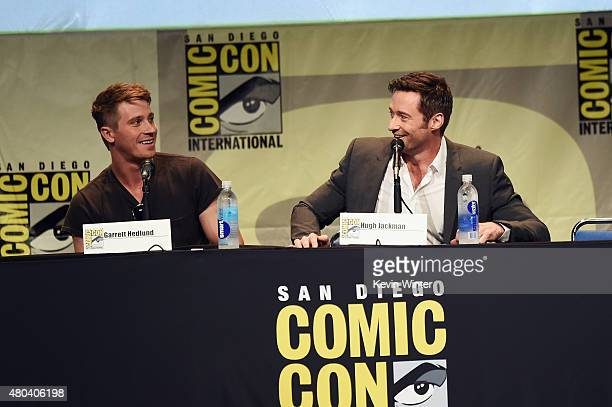 Actors Garrett Hedlund and Hugh Jackman from 'Pan' attend the Warner Bros presentation during ComicCon International 2015 at the San Diego Convention...