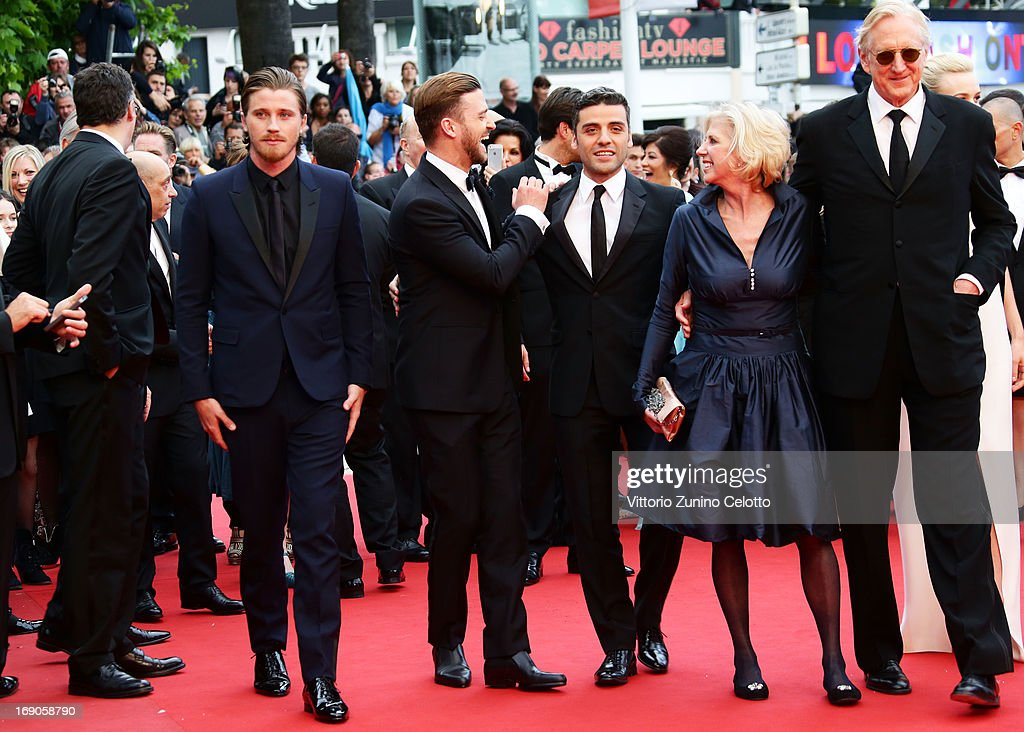 Actors Garrett Hedlund, Justin Timberlake, Oscar Isaac, screenwriter Callie Khouri and musican T-Bone Burnett attends 'Inside Llewyn Davis' Premiere during the 66th Annual Cannes Film Festival at Palais des Festivals on May 19, 2013 in Cannes, France.
