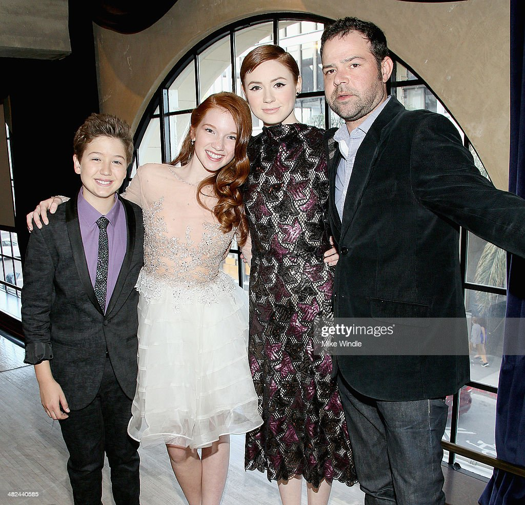 Actors Garrett Ryan, Annalise Basso, <a gi-track='captionPersonalityLinkClicked' href=/galleries/search?phrase=Karen+Gillan&family=editorial&specificpeople=6876471 ng-click='$event.stopPropagation()'>Karen Gillan</a> and <a gi-track='captionPersonalityLinkClicked' href=/galleries/search?phrase=Rory+Cochrane&family=editorial&specificpeople=210494 ng-click='$event.stopPropagation()'>Rory Cochrane</a> attend the pre-reception for the screening of Relativity Media's 'Oculus' at The Roosevelt Hotel on April 3, 2014 in Hollywood, California.
