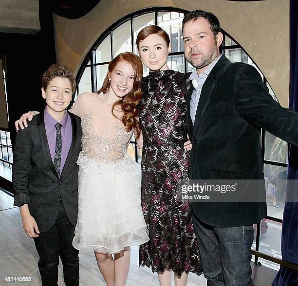 Actors Garrett Ryan Annalise Basso Karen Gillan and Rory Cochrane attend the prereception for the screening of Relativity Media's 'Oculus' at The...